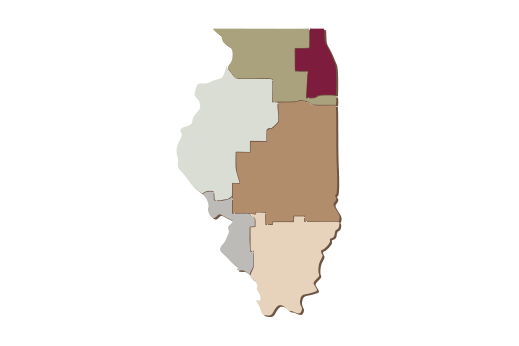 Cultural Illustrations Map of Illinois Artwork
