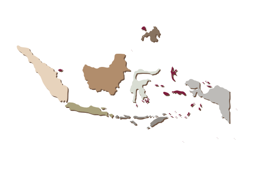Cultural Illustrations Map of Indonesia Artwork