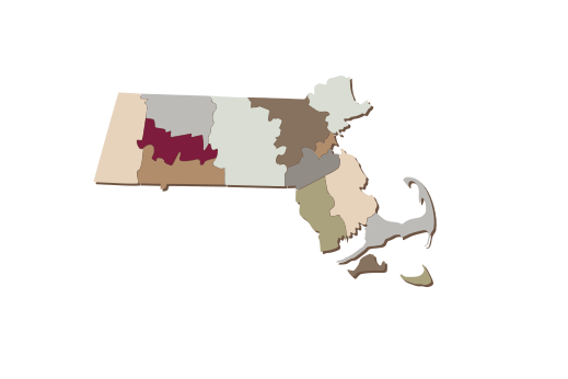 Cultural Illustrations Map of Massachusetts Artwork