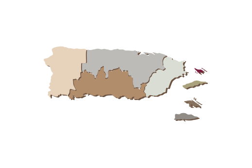 Cultural Illustrations Map of Puerto Rico Artwork