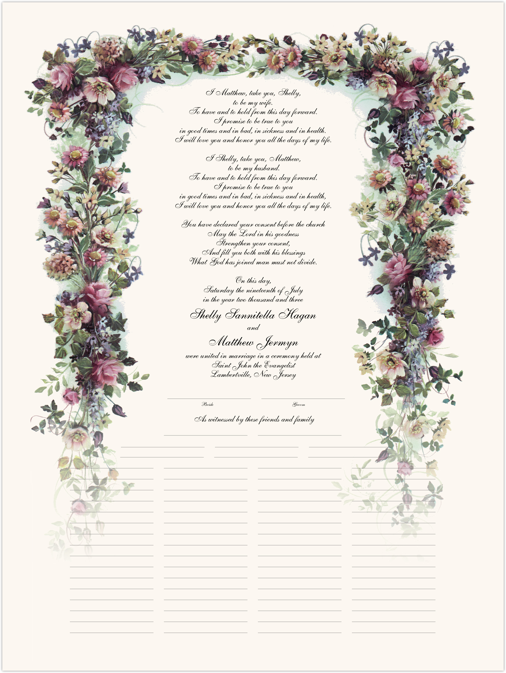 Antique Pinks Wedding Certificates