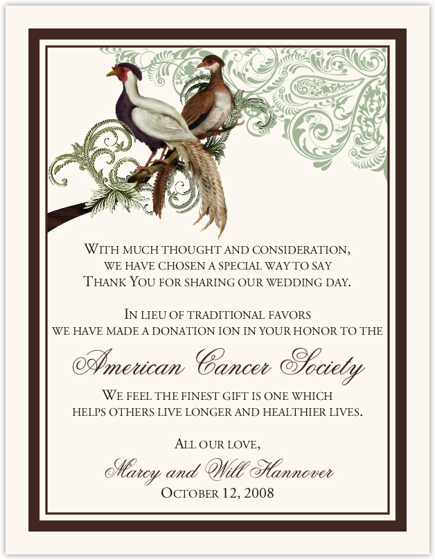 Asian Peace Birds Wedding Donation Cards Charity Cards And Wedding