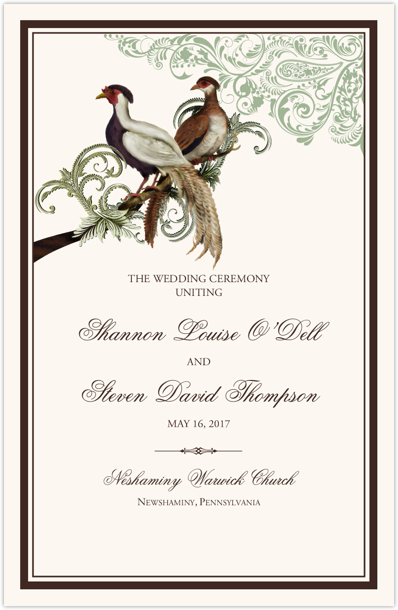 Asian Peace Birds Wedding Programs
