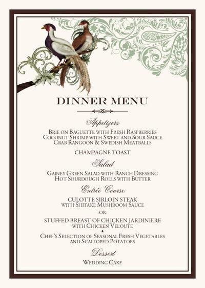 Asian peace birds wedding reception menu cards and custom menus