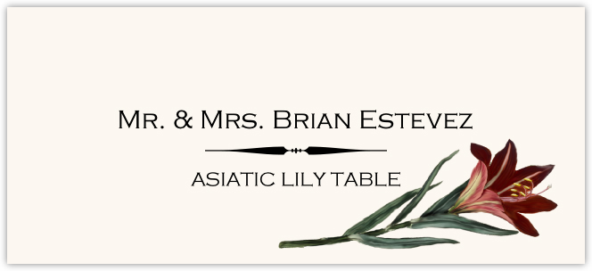 Asiatic Lily Place Cards