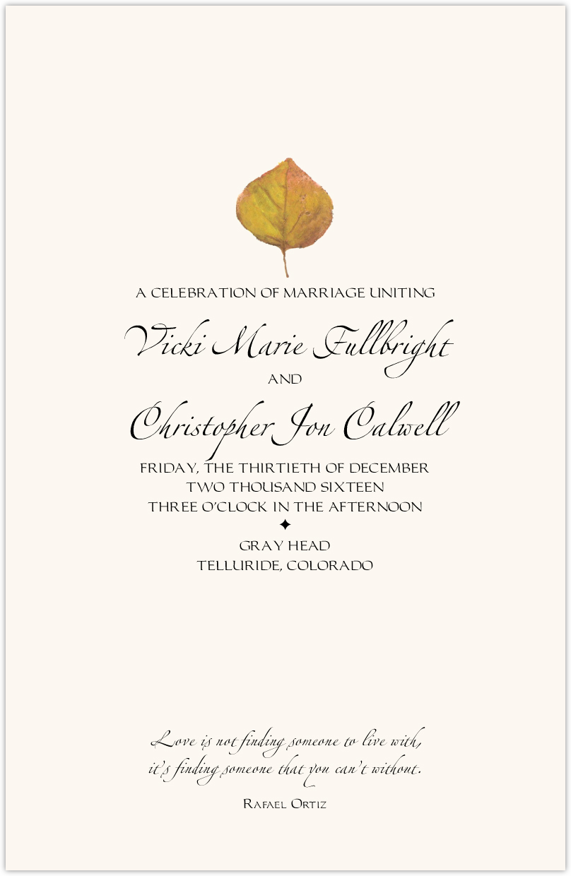 Yellow Aspen Leaves Wedding Programs