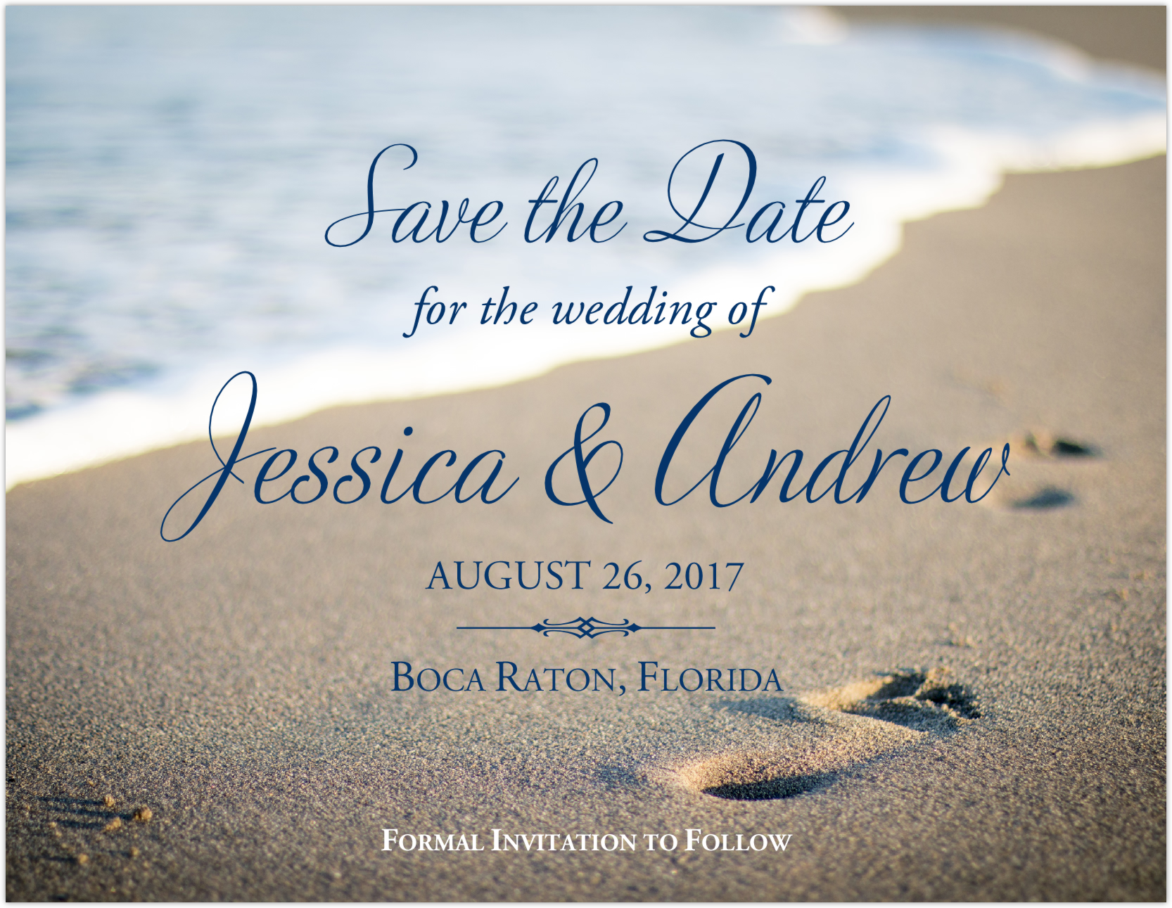 Beach Footprints Save the Dates