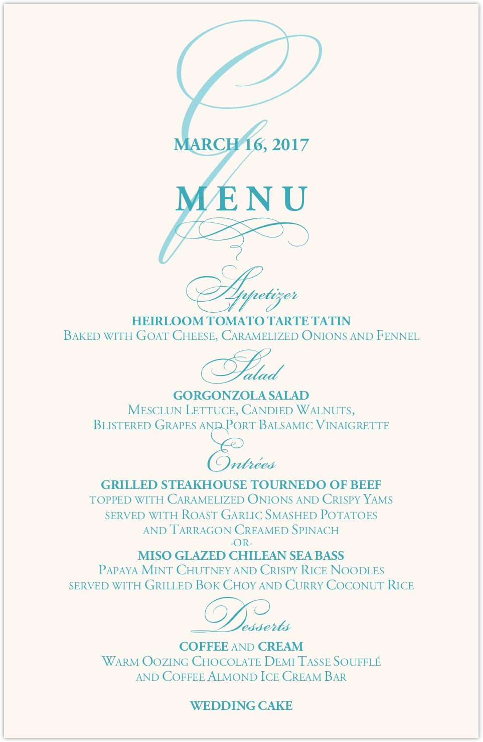 Bickham Watermark 2 Wedding Menus