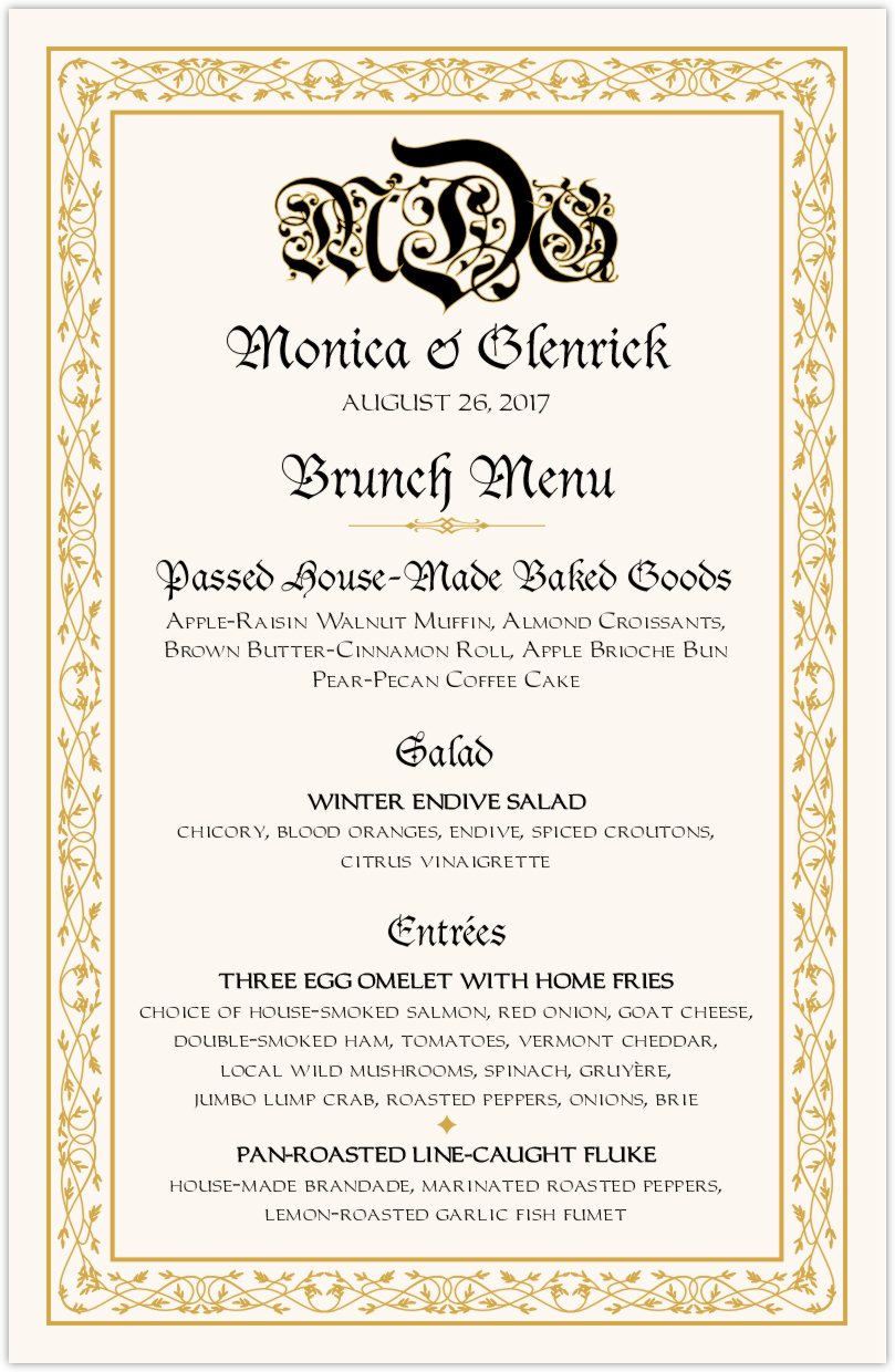 Blackletter Gothic Wedding Reception Personalized Menu Cards
