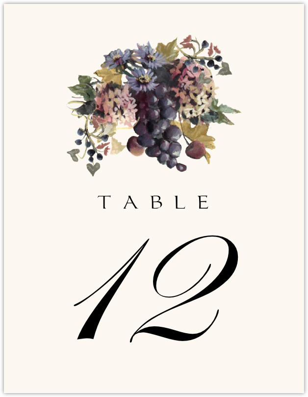 Blue Grapes and Chicory 01 Table Numbers