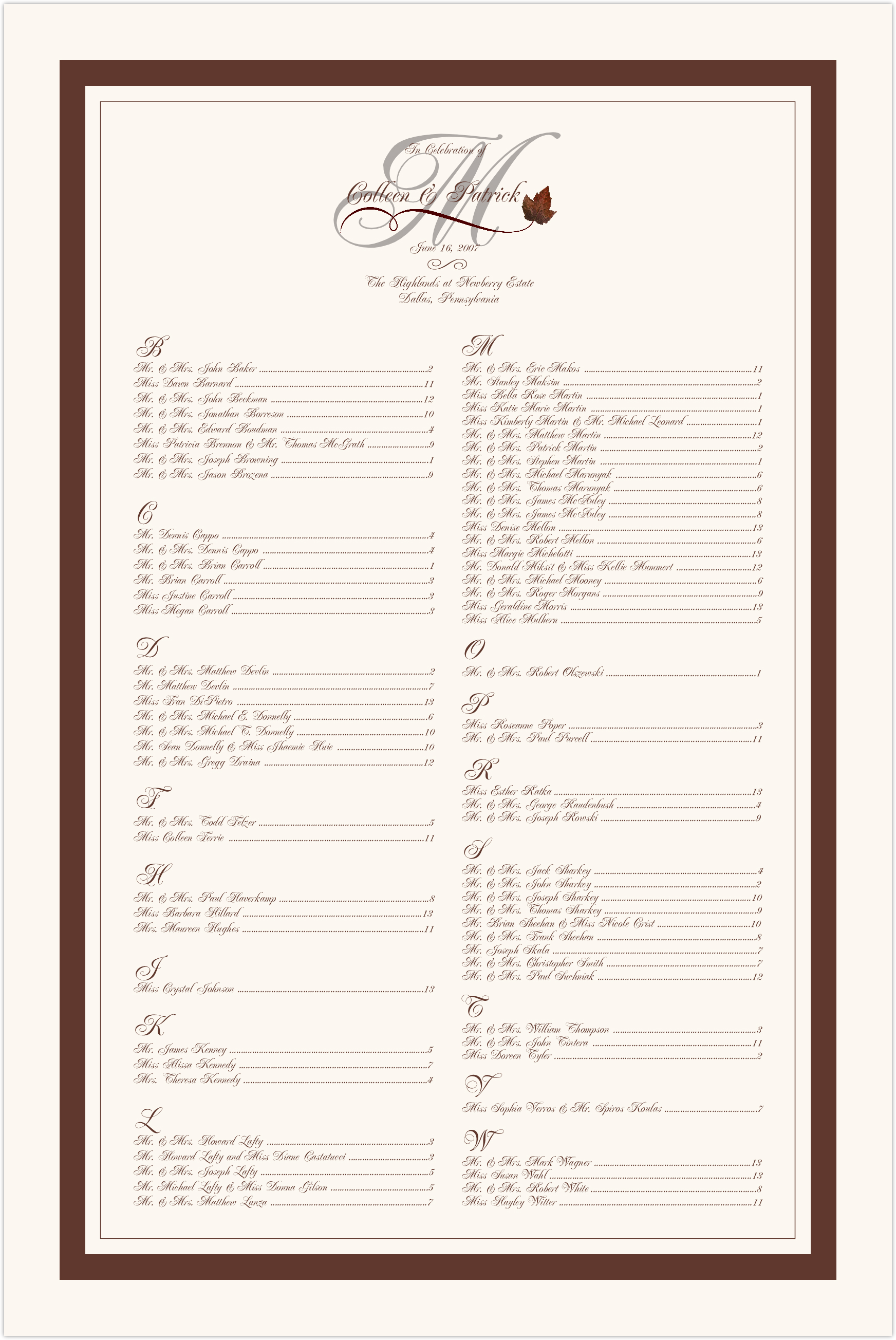 Boxelder Leaf Flourish Seating Charts