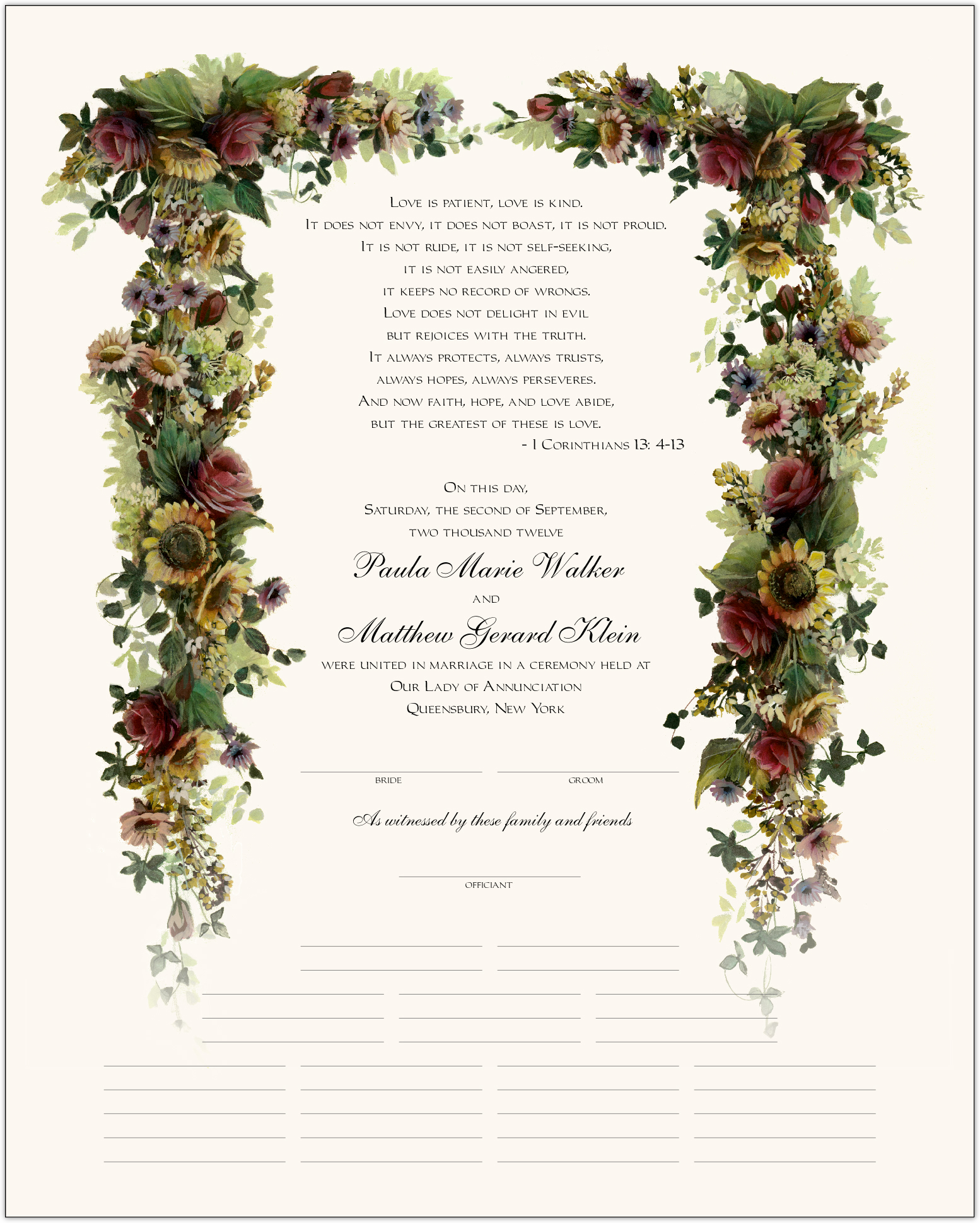 Burgundy Roses and Sunflowers Wedding Certificates