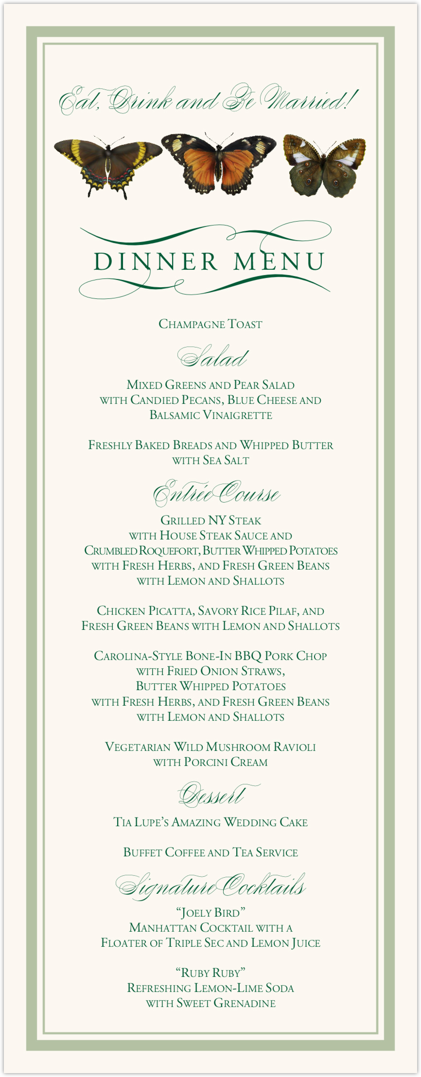 assorted butterfly ballet reception and wedding menu cards
