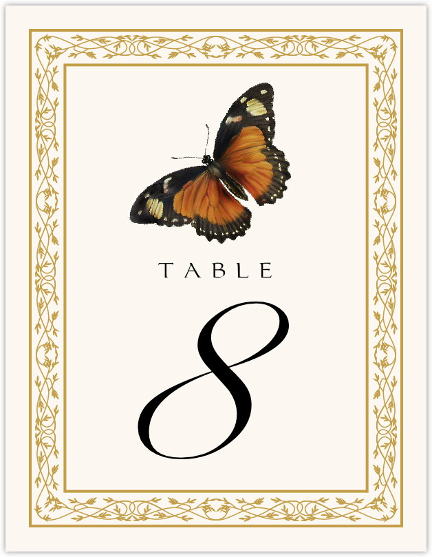 Monarch Butterfly Table Numbers