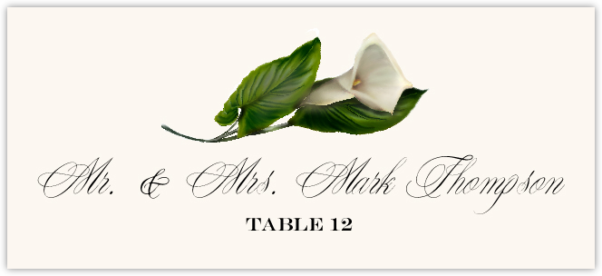 Calla Lily Monogram Place Cards