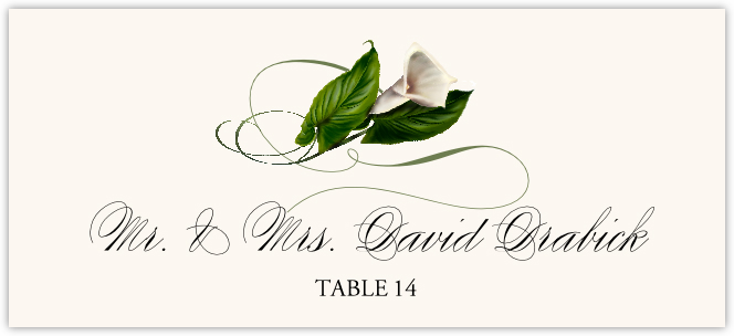 Calla Lily Swirl Place Cards
