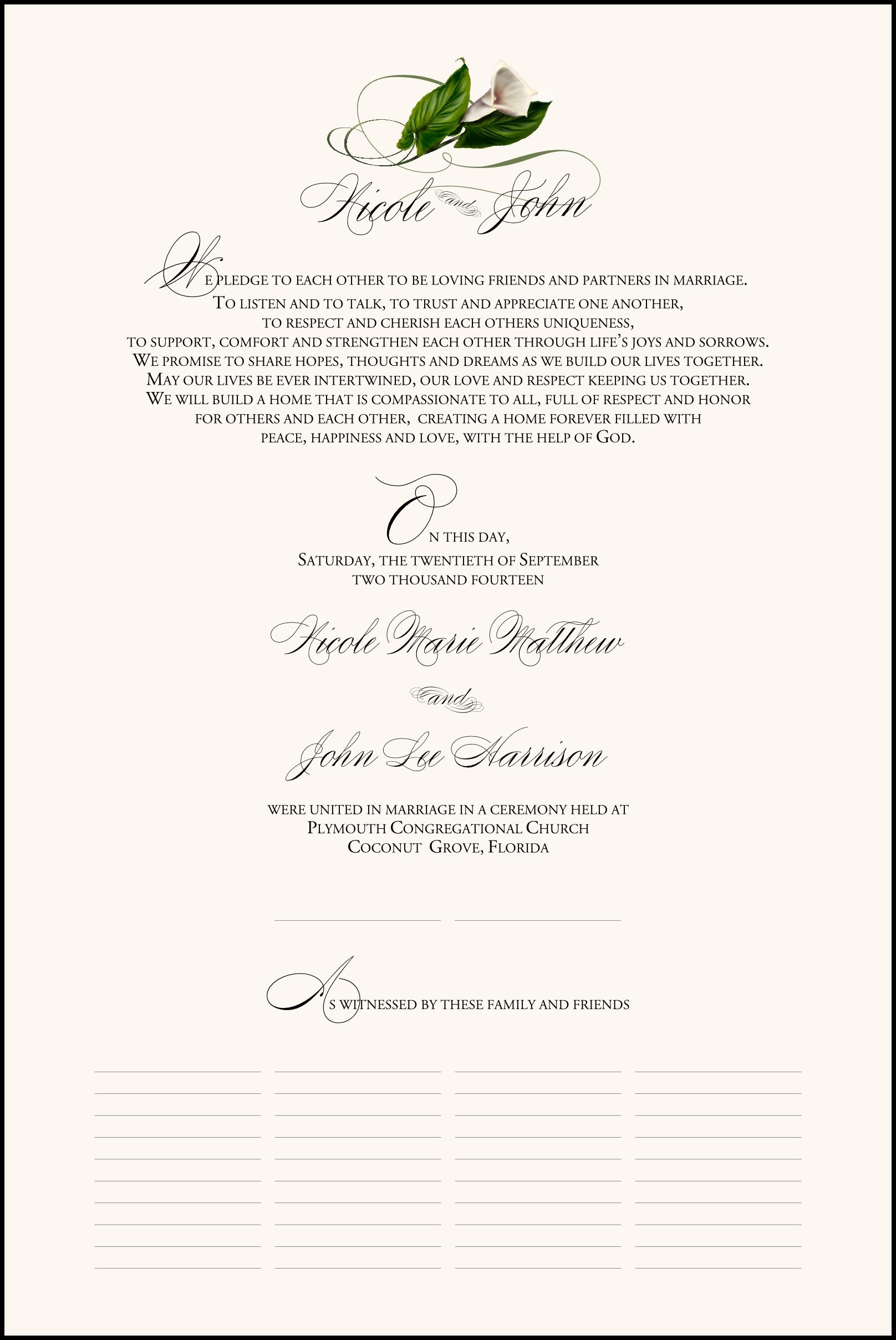 Calla Lily Swirl 02 Wedding Certificates