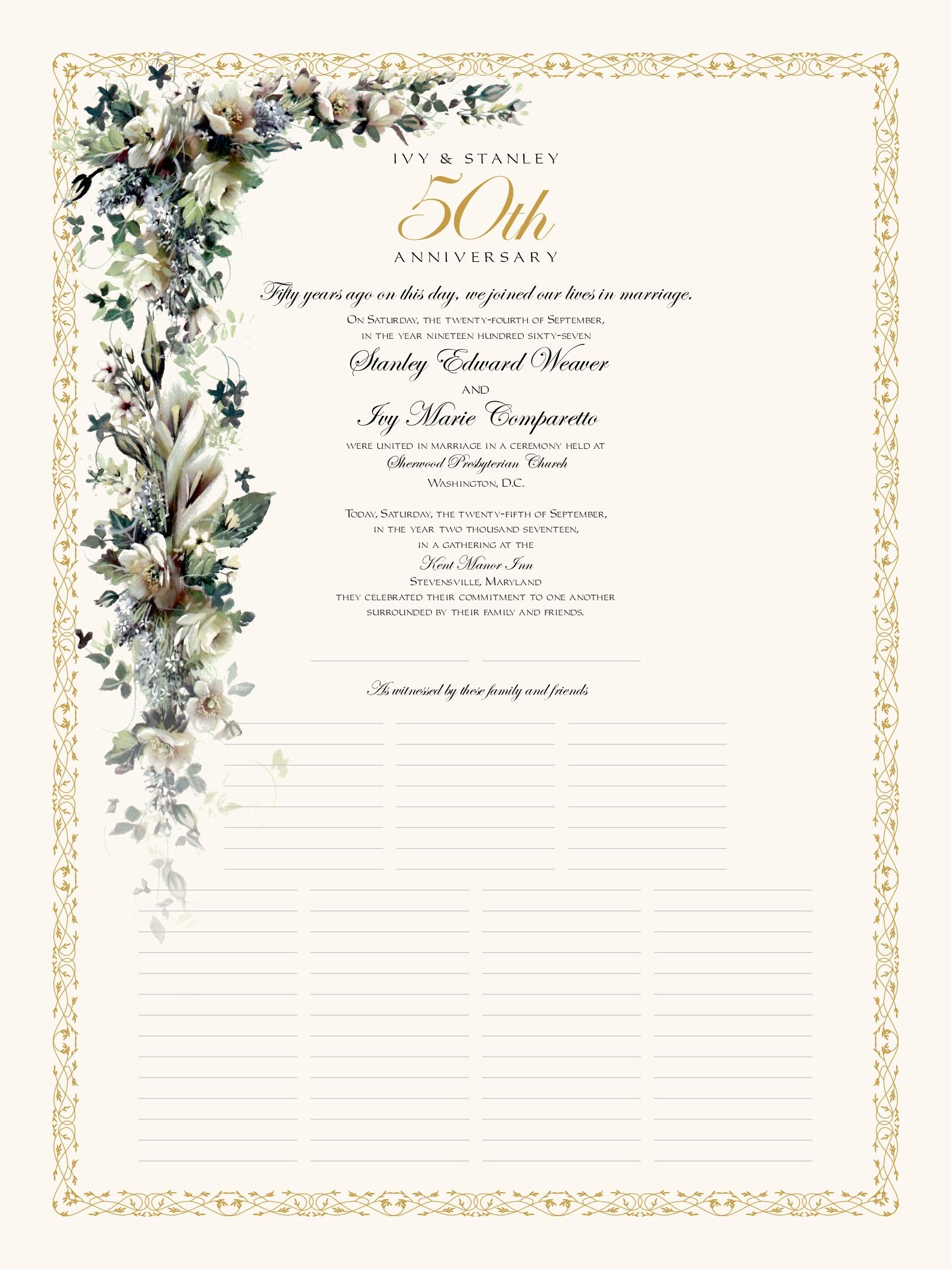anniversary certificate