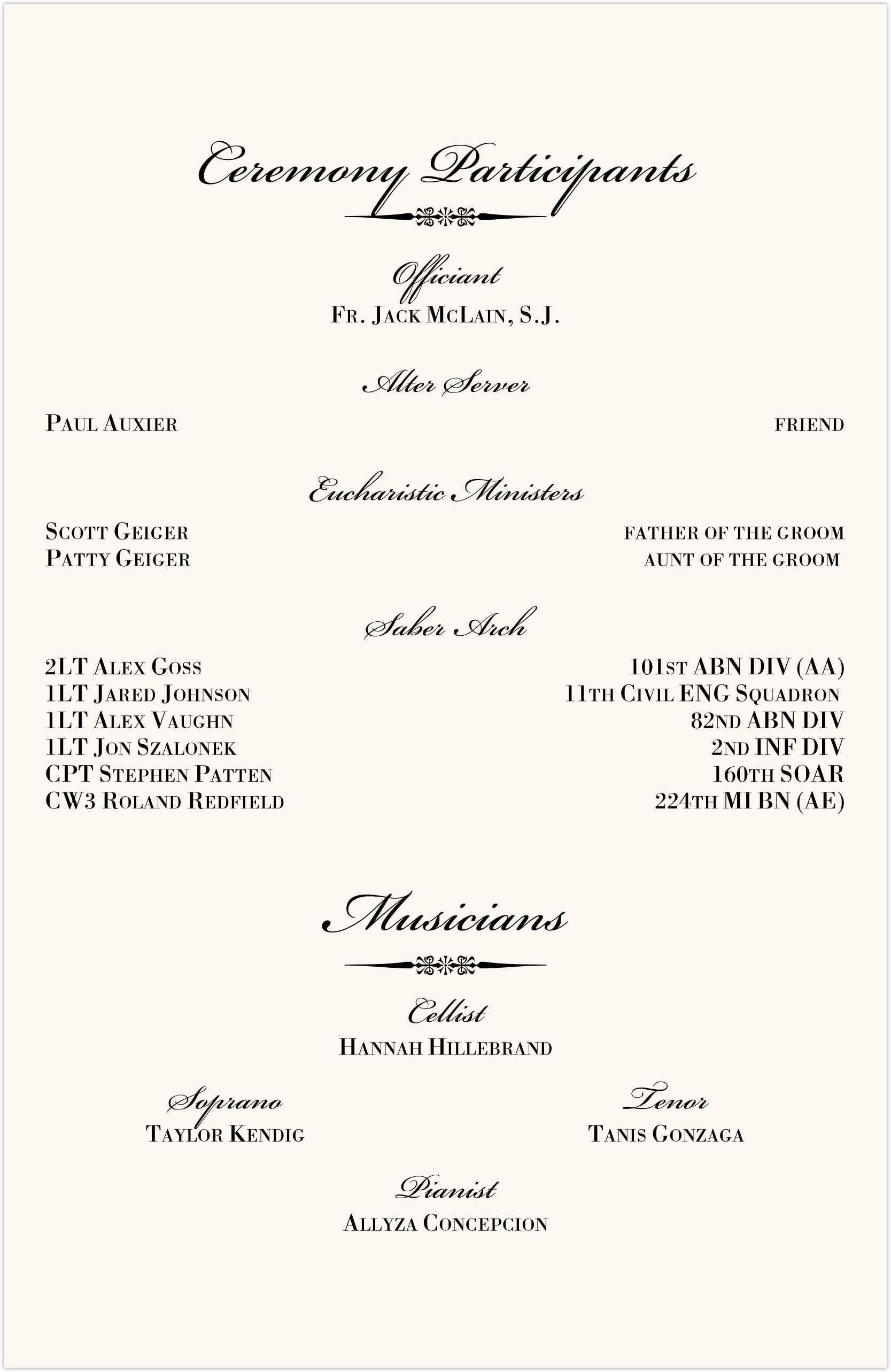 Typo Upright Monogram Full Catholic Mass (12 Pages) Wedding Programs