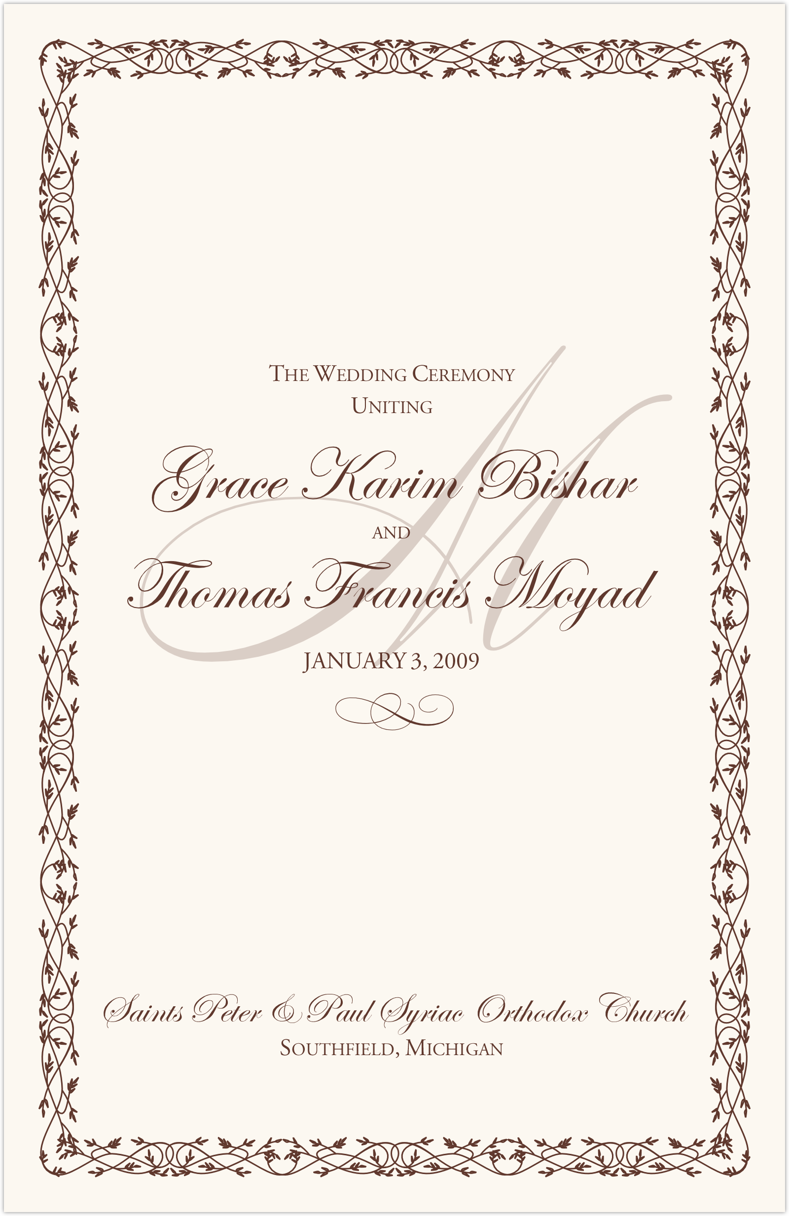 Wedding Program Wording Templates for Greek and Russian Orthodox – Oath of Office Template