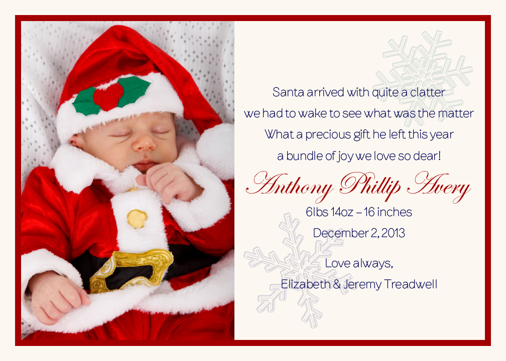 First Christmas Custom Photo Birth Announcements for Boys and ...