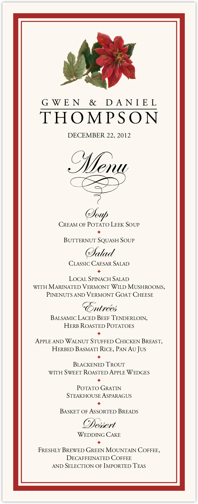 Poinsettia Wedding Menus