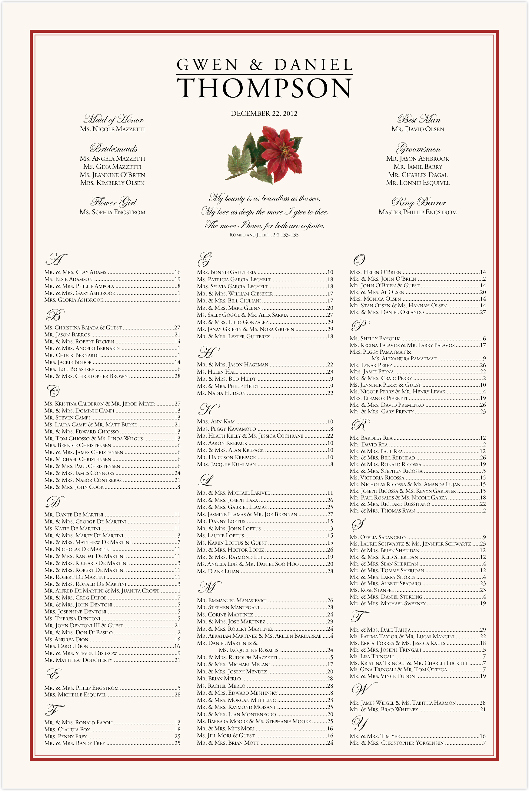 Poinsettia Seating Charts