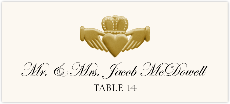 Gold or Silver Claddagh Place Cards