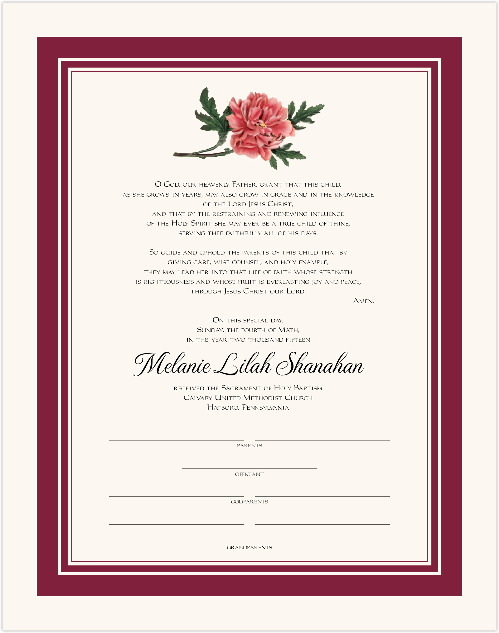 Classic Pink Peony Baby Certificates