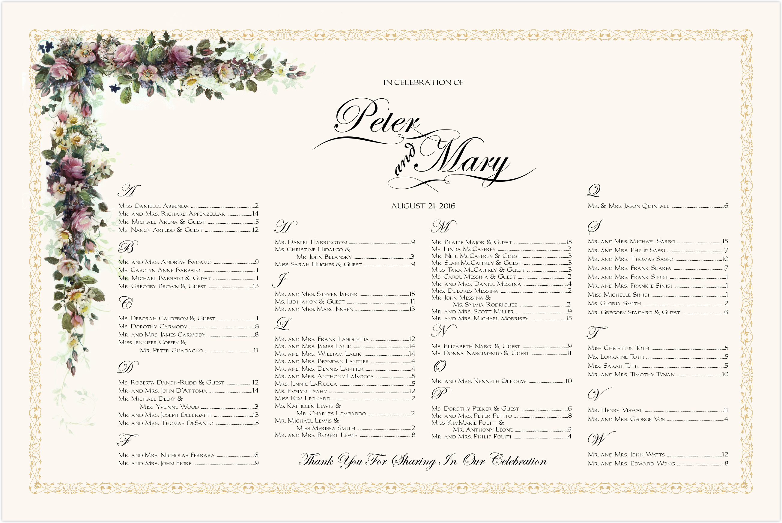 Colorful Garden Seating Charts
