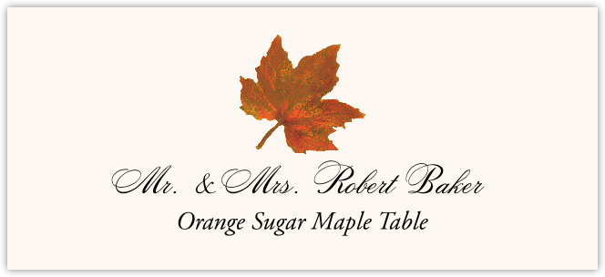 Orange Sugar Maple Colorful Leaf Place Cards