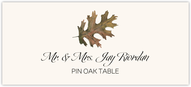 Pin Oak Colorful Leaf Place Cards