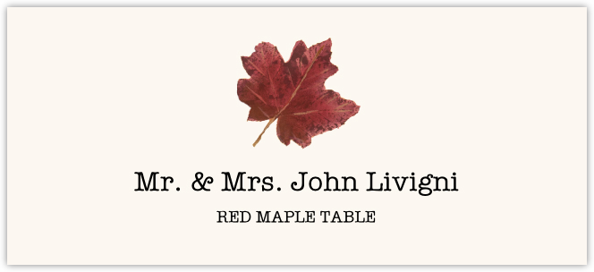 Red Maple Colorful Leaf Place Cards
