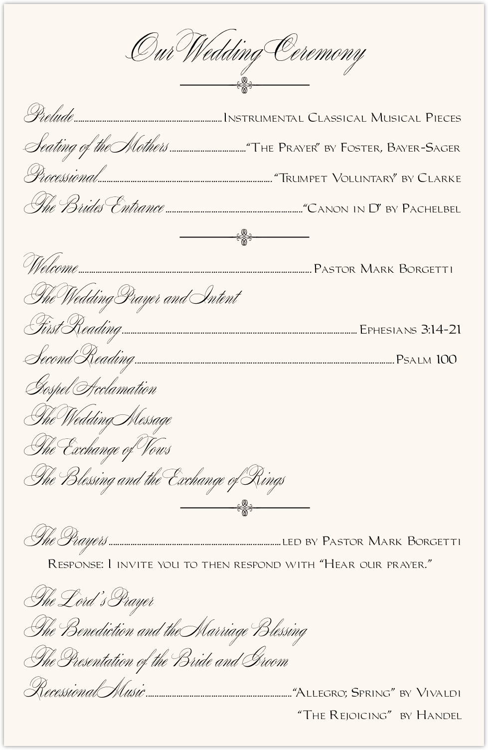 Constitution Flourish Birds Wedding Programs