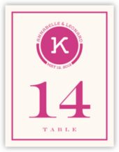 Contemporary Monogram 02 Wedding Table Number Cards
