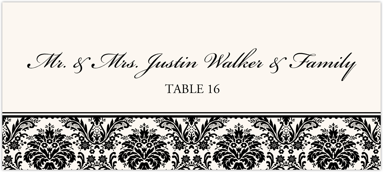 Damask Pattern Place Cards