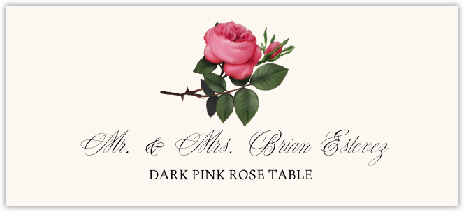 Dark Pink Rose Place Cards