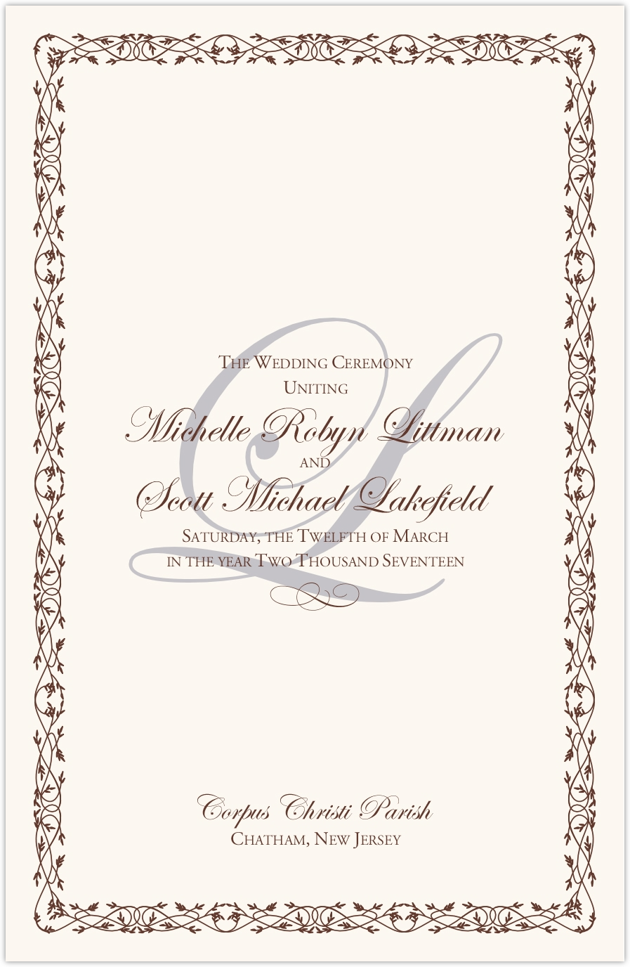 Edwardian Watermark Wedding Programs