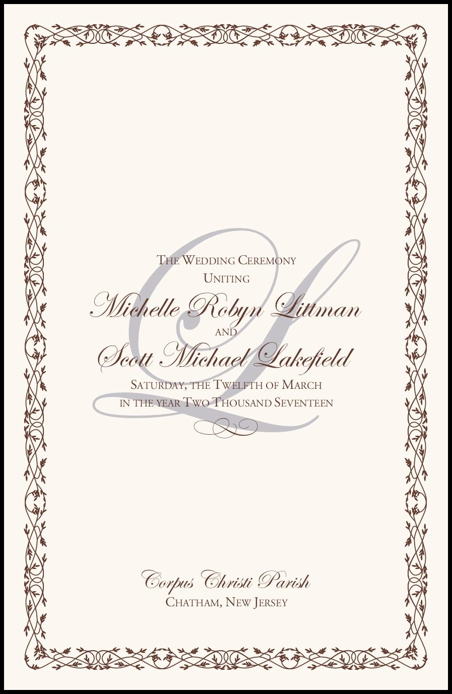edwardian watermark and brown celtic leaf border wedding