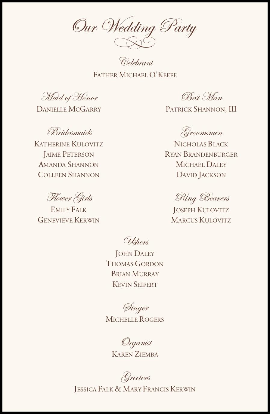Edwardian Watermark and Brown Celtic Leaf Border Wedding Program ...