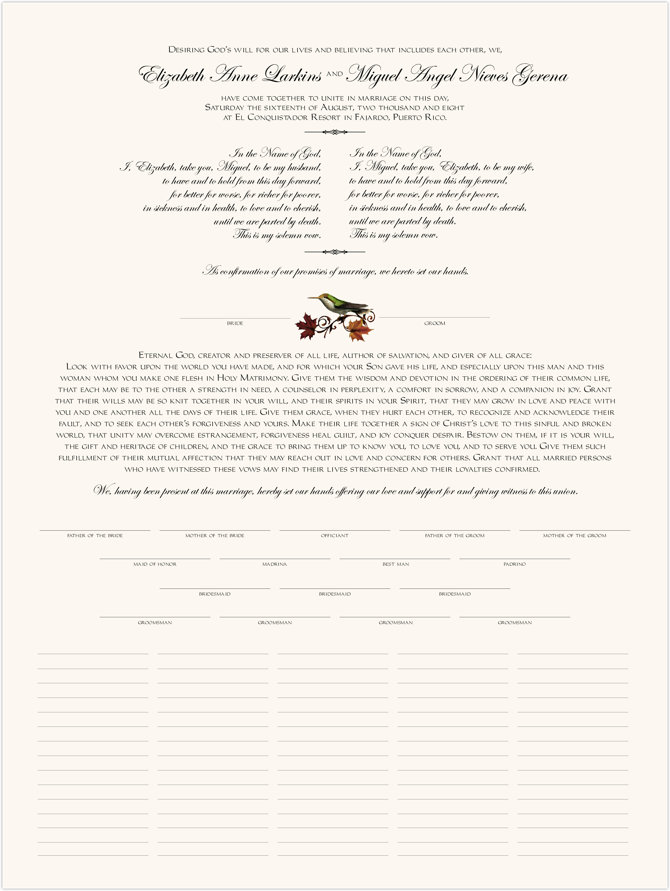 Fall Indy Custom Wedding Certificates For Fall Weddings With Leaves