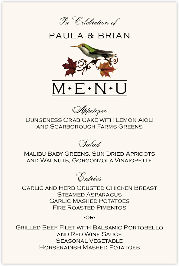 Fall Indy Wedding Menus