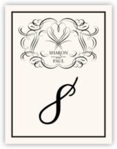 Flourish Monogram 17 Wedding Table Numbers