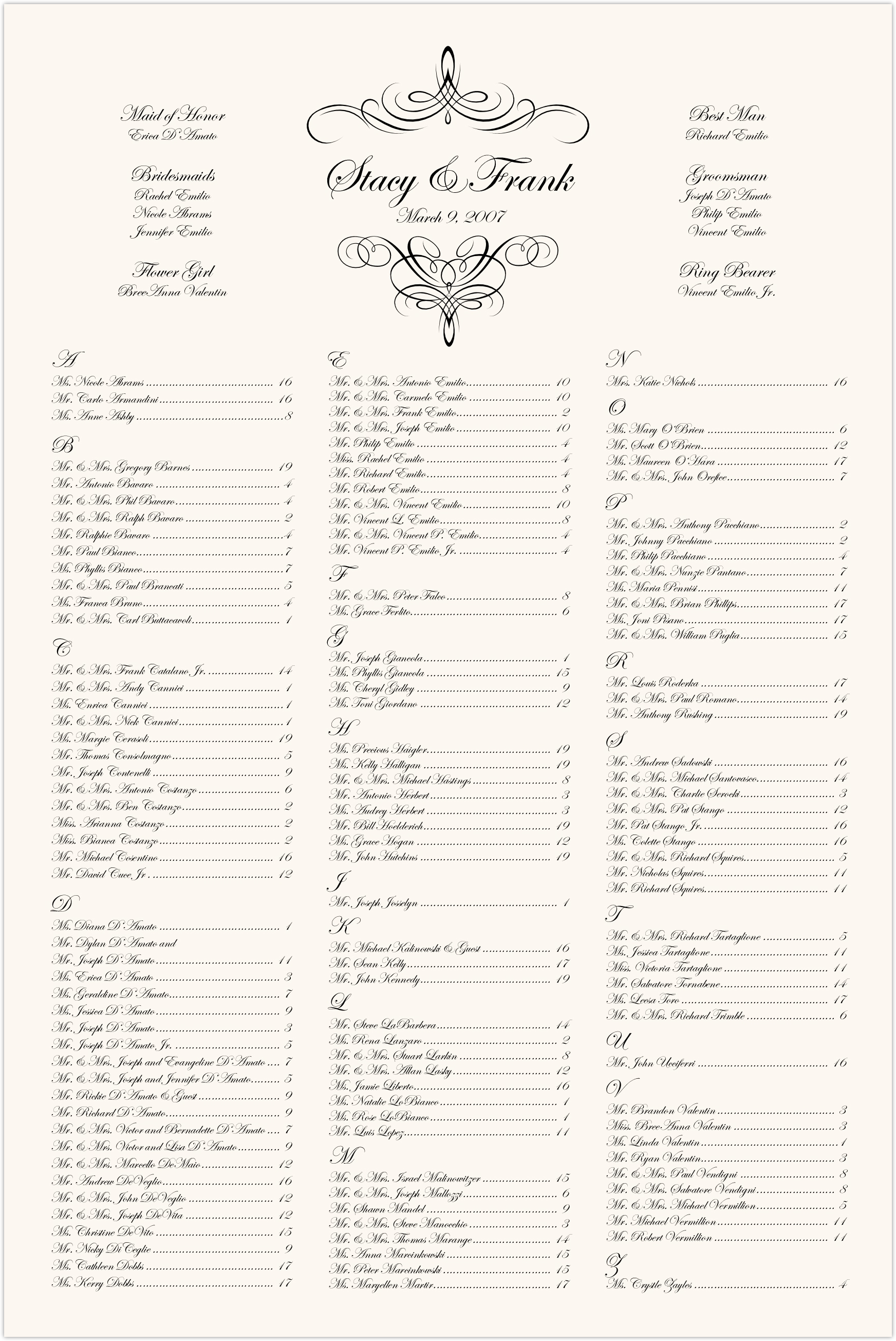 Flourish Monogram Script Seating Charts