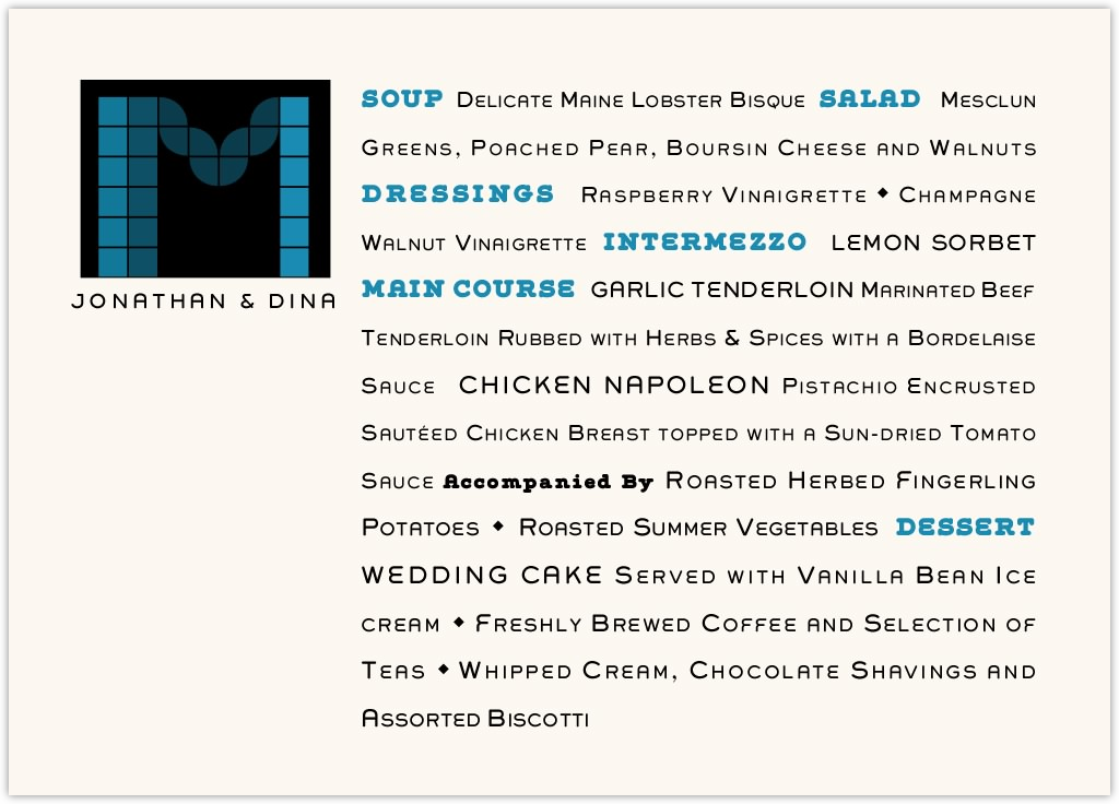 Contemporary Monogram 05 Wedding Menus
