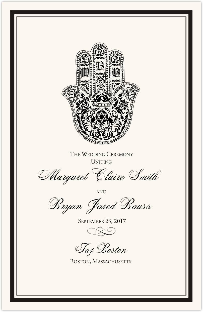 hand of miriam jewish wedding ceremony programs with hamsa and