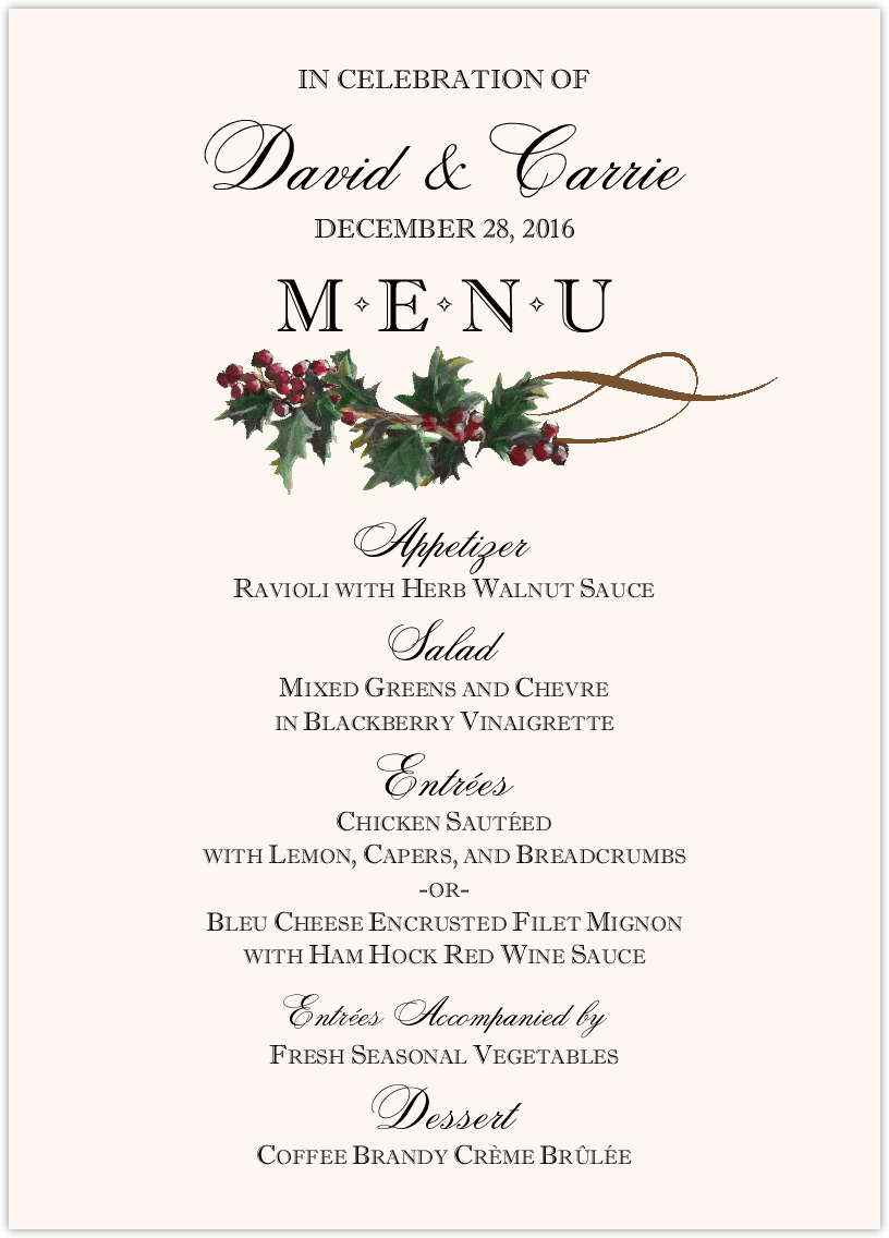 Winter Wedding Menu Cards With Snowflake Designs Holiday Graphics