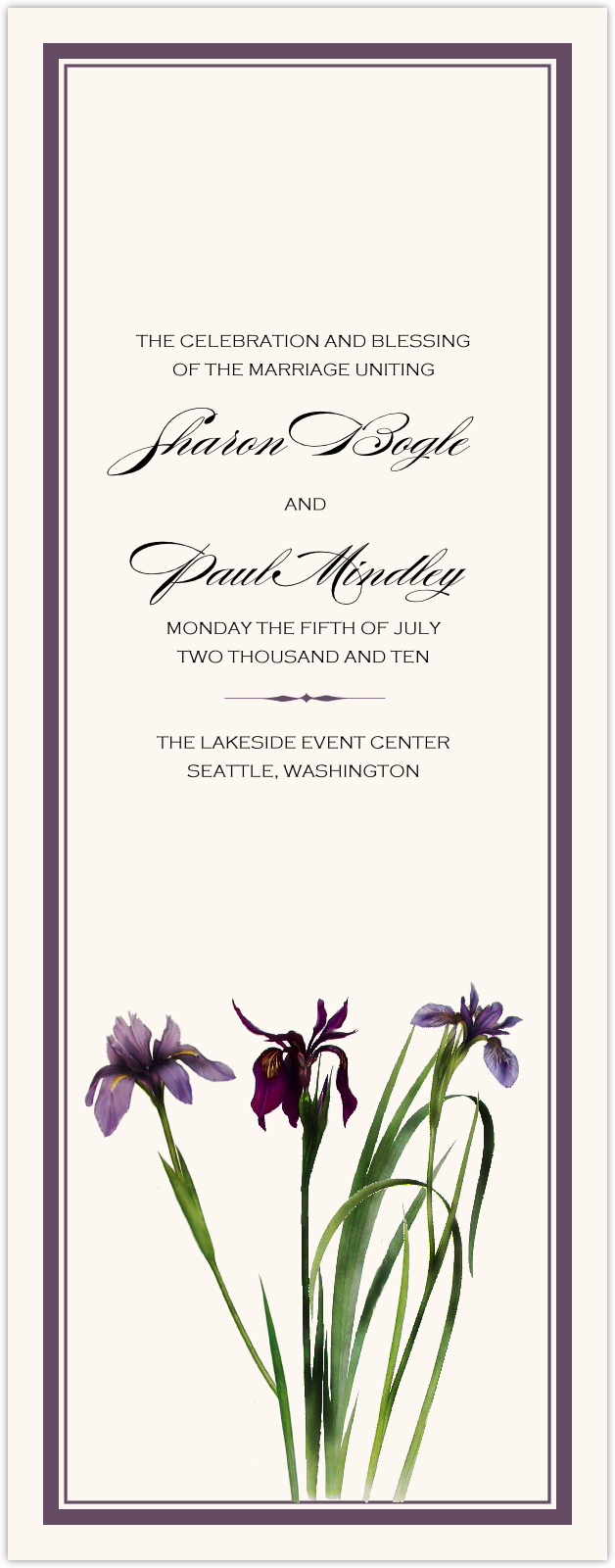 Wispy Iris Wedding Programs