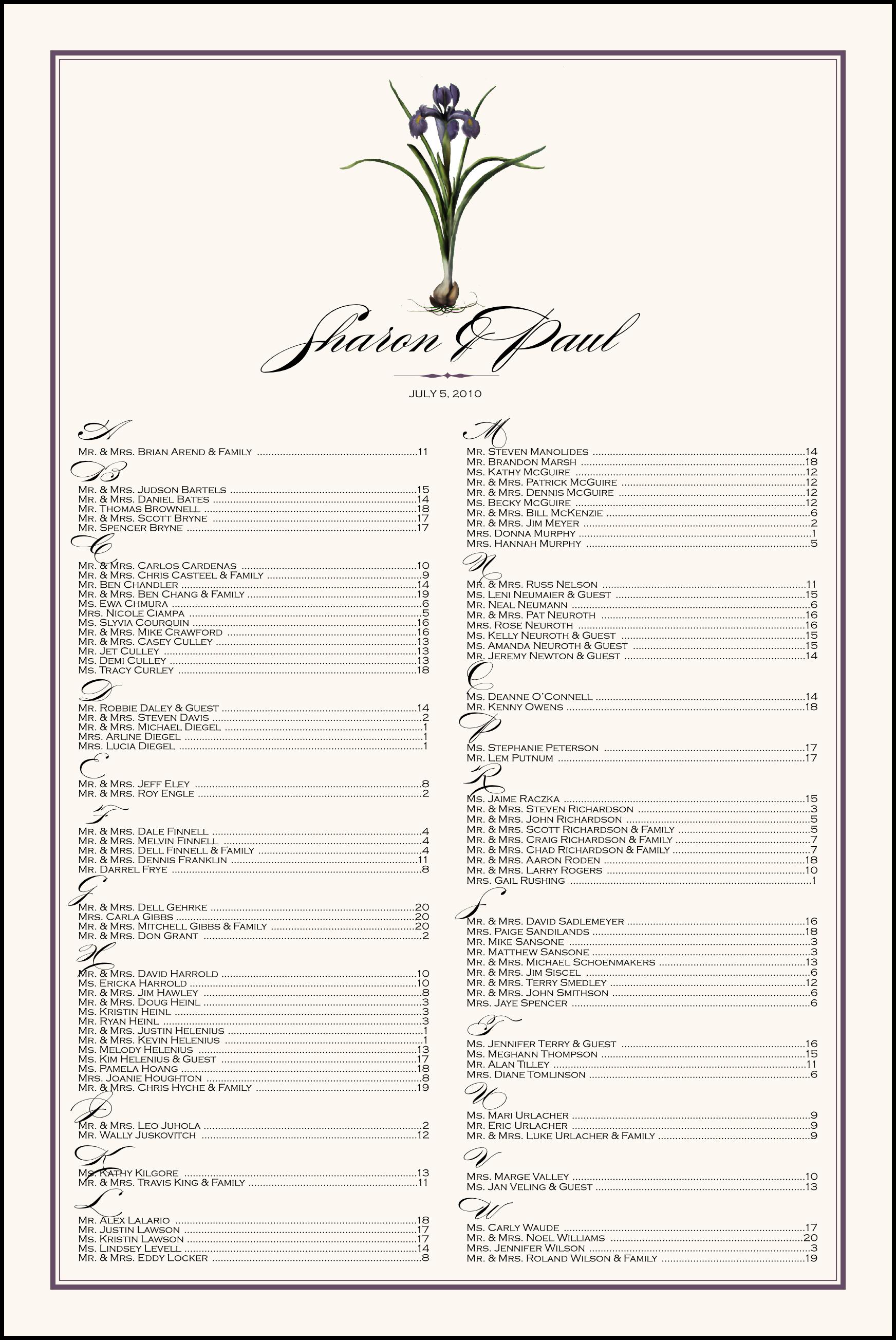 Iris Bulb Seating Charts