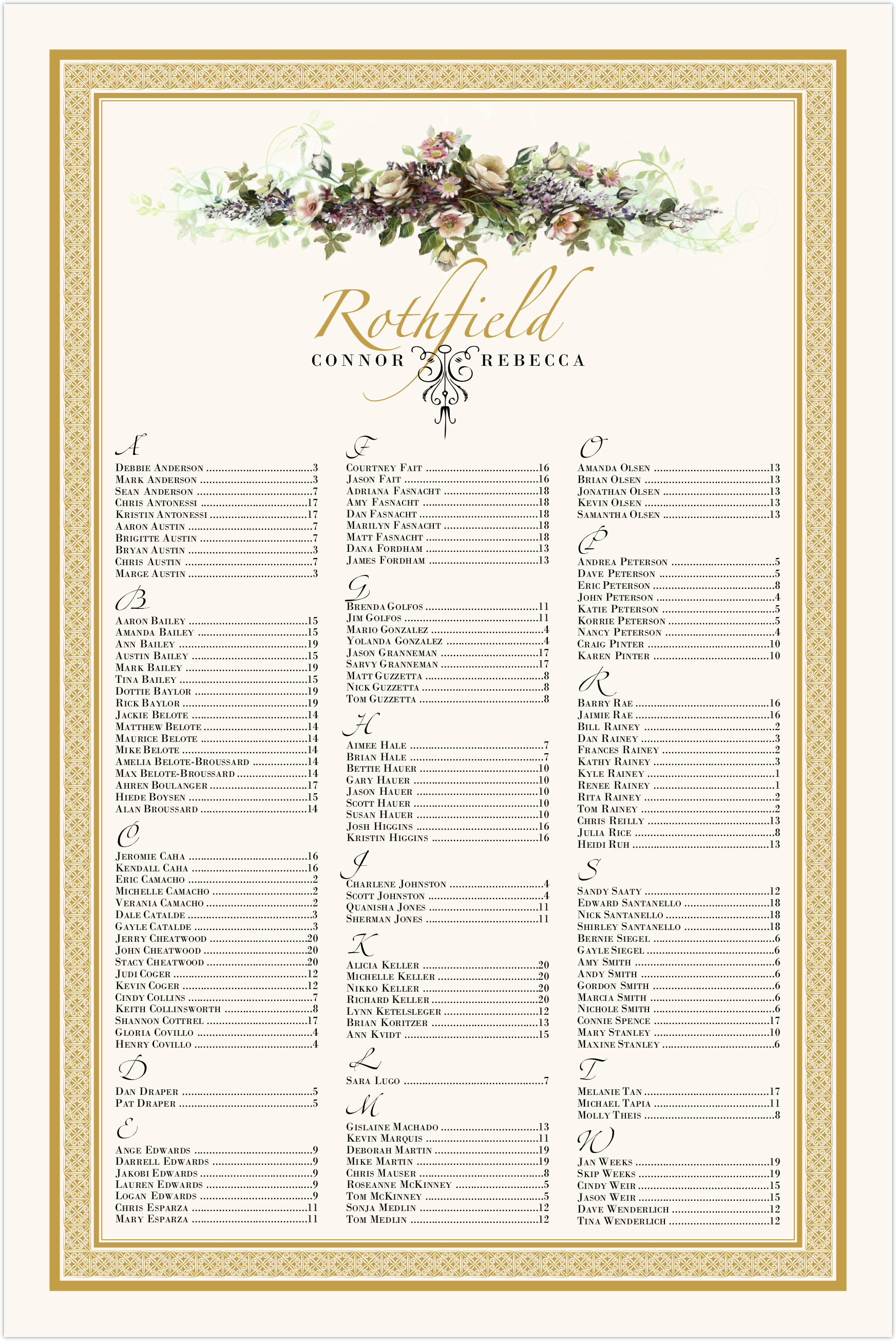 Ivory Roses Swag Seating Charts